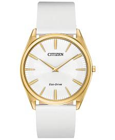 Citizen Eco-Drive Women's Stiletto White Leather Strap Watch 39mm