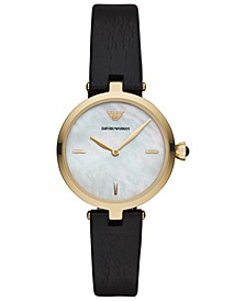 Women's Black Leather Strap Watch 32mm