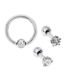 Bodifine Stainless Steel Set of 3 Cz Tragus Studs and Ring