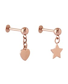 Bodifine Stainless Steel Set of 2 Drop Charm Tragus