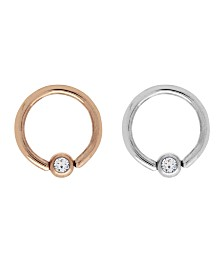 Bodifine Stainless Steel Set of 2 Colors Crystal Cartilage Rings