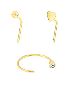 Bodifine 9 Carat Gold Set of 3 Plain Nose Studs and Hoop