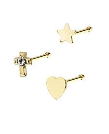 Bodifine 9 Carat Gold Cross Star Flower Nose Studs Set of 3