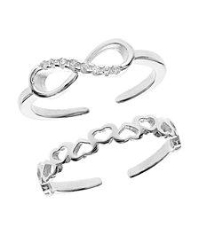 Bodifine Sterling Silver Set of 2 Infinite Love Toe Rings