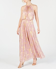MSK Metallic-Print Pleated Maxi Gown