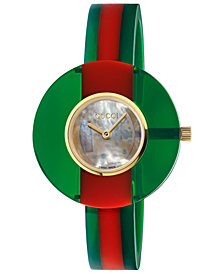 Gucci Women's Swiss Vintage Web Green-Red Plexi-Resin Bangle Bracelet Watch 35mm