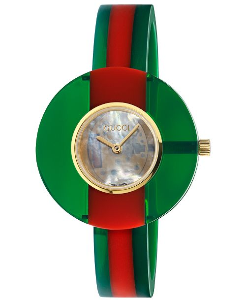 300fef952 ... Gucci Women's Swiss Vintage Web Green-Red Plexi-Resin Bangle Bracelet  Watch ...