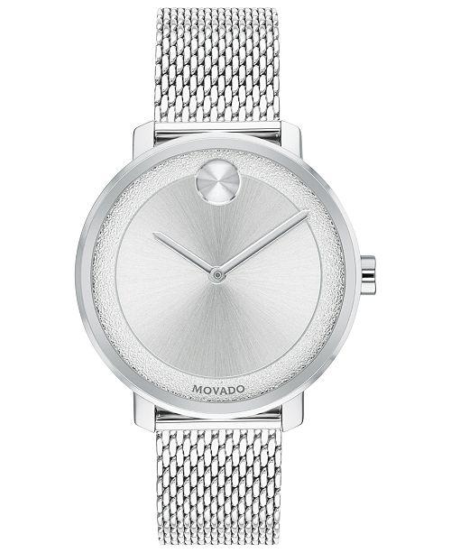 Movado Women's Swiss BOLD Stainless Steel Mesh Bracelet Watch 34mm