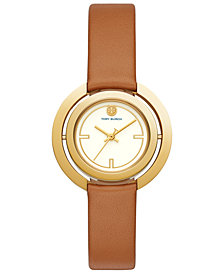 Tory Burch Women's Grier Luggage Leather Strap Watch 26mm