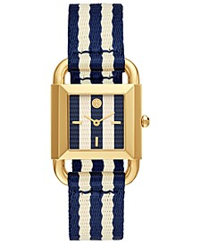 Women's Phipps Blue & White Grosgrain Strap Watch 29mm