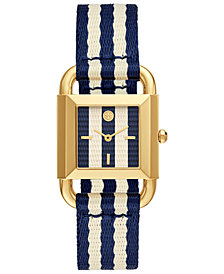 Tory Burch Women's Phipps Blue & White Grosgrain Strap Watch 29mm