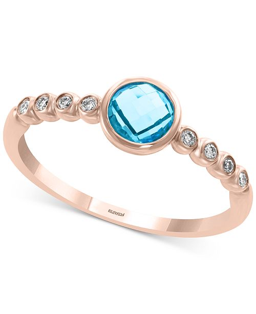 EFFY Collection EFFY® Blue Topaz (3/8 ct. t.w.) & Diamond Accent Ring in 14k Gold (Also in Garnet in 14k Gold)