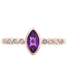 EFFY® Amethyst (1/4 ct. t.w.) & Diamond Accent Ring in 14k Rose Gold