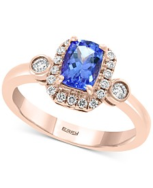 EFFY® Tanzanite (3/4 ct. t.w.) and Diamond (1/4 ct. t.w.) Ring in 14k Rose Gold