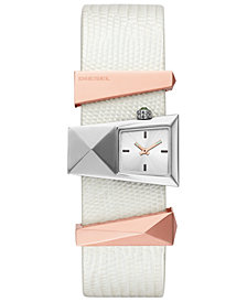Diesel Women's Caterina White Leather Strap Watch 31mm