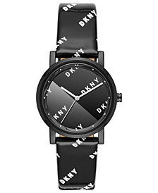 DKNY Women's Soho Black Patent Leather Strap Watch 34mm