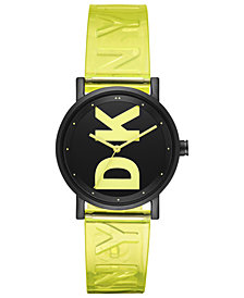 DKNY Women's Soho Satellite Yellow Polyurethane Strap Watch 34mm