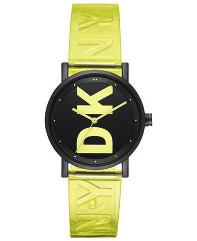 DKNY Women's Soho Satellite Yellow Polyurethane Strap Watch 34mm