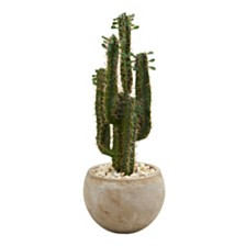 Nearly Natural 2.5' Cactus Artificial Plant in Bowl Planter