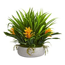 """16"""" Bromeliad and Grass Artificial Plant in Ceramic Vase"""