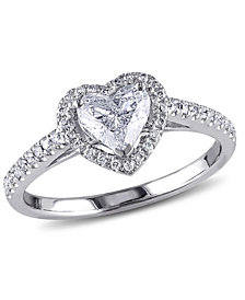 Certified Diamond (7/8 ct. t.w.) Heart-Shape Halo Engagement Ring in 14k White Gold