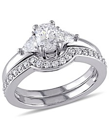 Certified Diamond (1 ct. t.w.) Oval-Shape 3-Stone Bridal Set in 14k White Gold