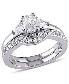 Certified Diamond (1 ct. t.w.) Oval-Shape 3-Stone Bridal Set in 14k White Gold