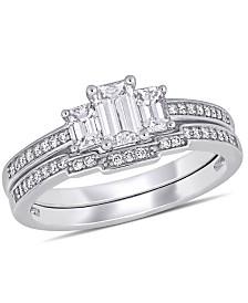 Certified Diamond (1 ct. t.w.) 3-Stone Emerald-Shape Bridal Ring Set in 14k White Gold
