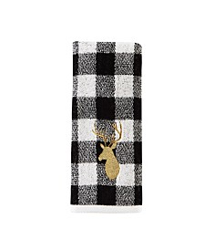 Deer White Plaid 2-Pc. Hand Towel Set