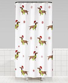 Dachshund Chritmas Fabric Shower Curtain
