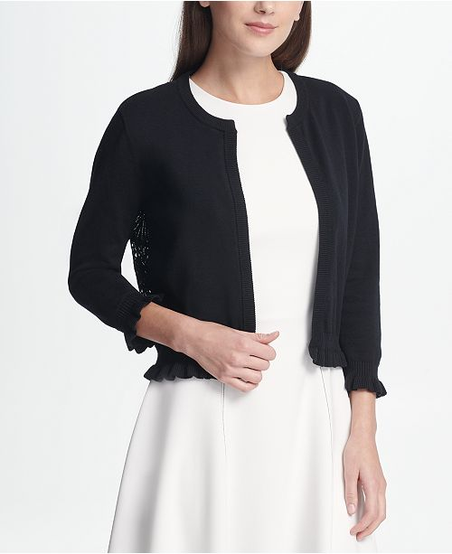 71113a157e ... DKNY Open Front Cardigan with Lace Back