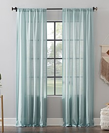 Clean Window Leno Weave Stripe Anti-Dust Curtain Panels