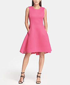DKNY Sleeveless Mesh Fit and Flare Dress, Created for Macy's