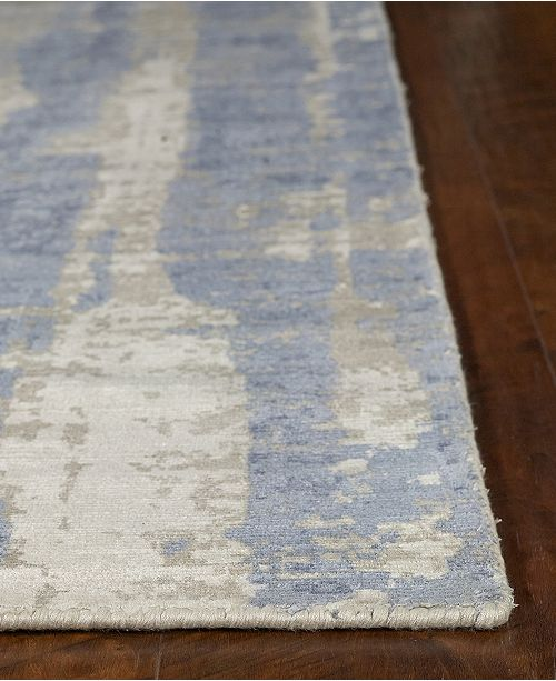"""Kas Indulge Drizzle 0802 Gray/Blue 7'6"""" x 9'6"""" Area Rug"""