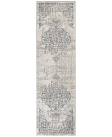 "KAS Seville Medallion 9471 Ivory/Grey 2'2"" x 7'6"" Runner Area Rug"