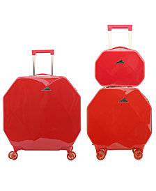 kensie 3 Piece Gemstone 8-Wheel Hardside Luggage Set with TSA Lock and Cosmetic Case