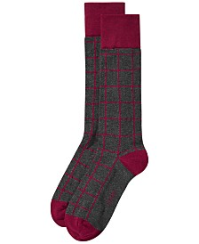 AlfaTech by Alfani Men's Windowpane-Plaid Dress Socks, Created for Macy's