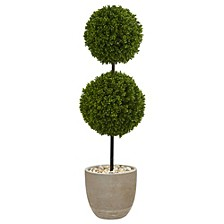 4' Boxwood Double Ball Topiary Artificial Tree in Oval Planter UV Resistant