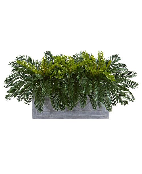 Nearly Natural Cycas Artificial Plant in Stone Planter