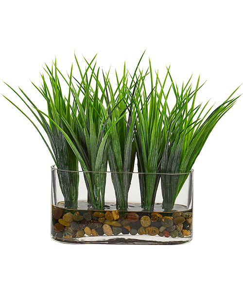 Nearly Natural Vanilla Grass Artificial Plant in Oval Vase