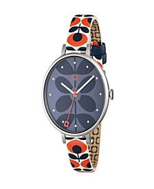 Orla Kiely Watch, Orange Leather Strap With Buckle Closure
