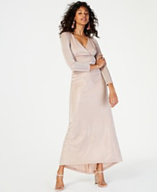 Vince Camuto Metallic Surplice Gown