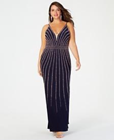 XSCAPE Plus Size Beaded Gown