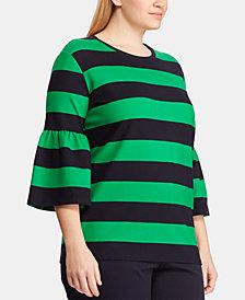 Lauren Ralph Lauren Plus Size Striped Flared-Sleeve Top