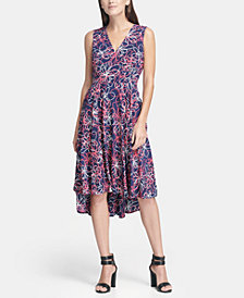 DKNY V-Neck Printed Fit and Flare Dress, Created for Macy's