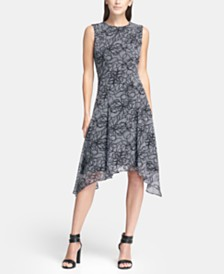DKNY Abstract Floral Printed Handkerchief Hem Dress