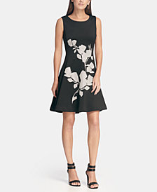 DKNY Sequin Embellished Fit and Flare Dress, Created for Macy's