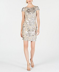 Sequined Flower Cowl-Back Dress