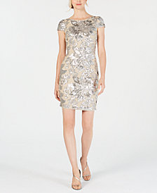Calvin Klein Sequined Flower Cowl-Back Dress
