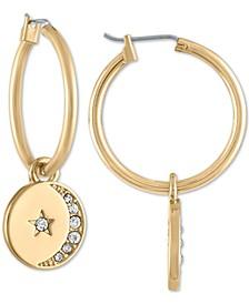Gold-Tone Pavé Moon & Star Disc Hoop Earrings